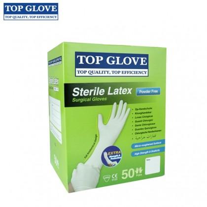 Top Glove Sterile Latex Surgical Glove, Powder Free (50 Pairs Per Box)
