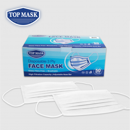 Top Mask Disposable 3 Ply Face Mask (50 pcs)